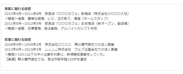 職務経歴書(キャリア式)