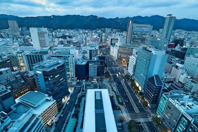 神戸の上空